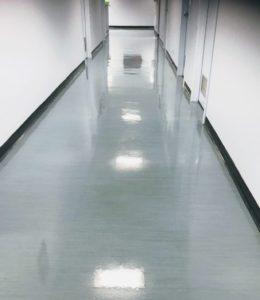 Vinyl floor strip and seal job